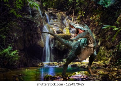 dinosaur in the waterfall background