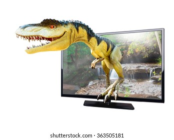 Dinosaurs model on nature background coming from LED television