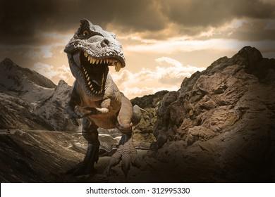Dinosaurier-Modell auf Felsenhintergrund