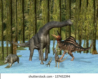 Dinosaurs Oil Painting Jurassic dinosaurs in mossy swamp.  Three carnivores approach a herbivore as another herbivore makes a hasty exit from the scene.