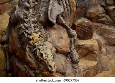 dinosaurs portrait.Dinosaur fossil simulator in sand background