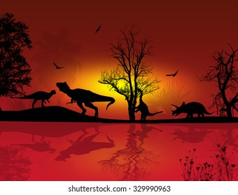 Dinosaurs silhouettes in beautiful landscape at red sunset near water