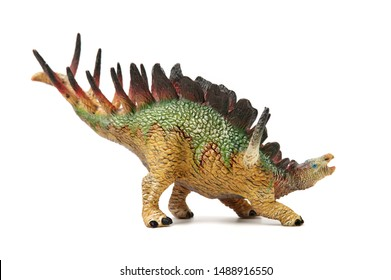 dinosaurs toys on white background