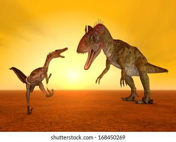 The Dinosaurs Velociraptor and Cryolophosaurus Computer generated 3D illustration