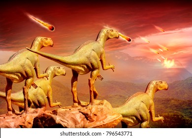 Dinosaurs watching meteorites falling to planet.