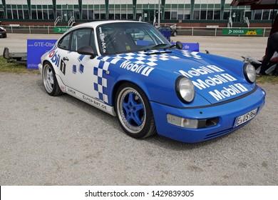 Dinslaken, NRW/Germany - 05/01/2019: a Porsche 911 964 RS Mobil1 on a Porsche Event Dinslaken Trabrennbahn
