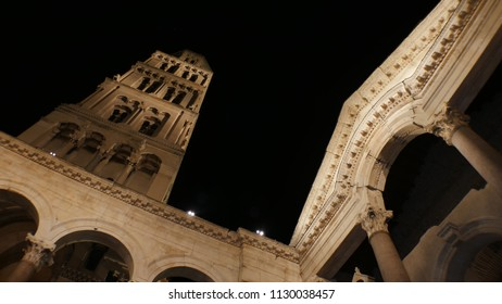 Diocletian's Palace at night, Split, Croatia - Tilt down - Diocletian Palace is ancient palace built for Emperor Diocletian in historic center of Split, Croatia. It is top travel attraction for people