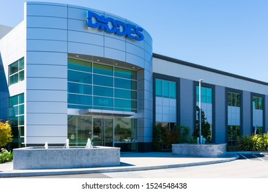 Diodes Incorporated semiconductor manufacturer company office exterior in Silicon Valley. Diodes HQ is located in Plano, Texas - Milpitas, CA, USA - October 2019