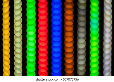 Diodes LED Strip color in the rainbow RGB stripes background blur
