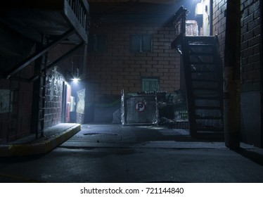 diorama model building street night
