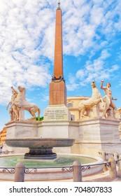 Dioscuri Fountain ( Fontana dei Dioscuri) located near QuirinalPalace (Palazzo del Quirinale) on Quirinale Square(Piazza del Quirinale). Rome. Italy.