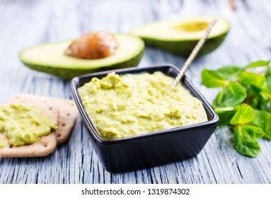 Dip Sauce Guacamole with avocado. Avocado spread