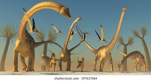 Diplodocus Dinosaur Journey - Dilophosaurus and Pterosaurs join a Diplodocus dinosaur herd on their search for food.