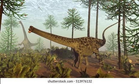Diplodocus dinosaurs among araucaria trees - 3D render