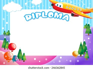 Diploma for children with plane and balloons