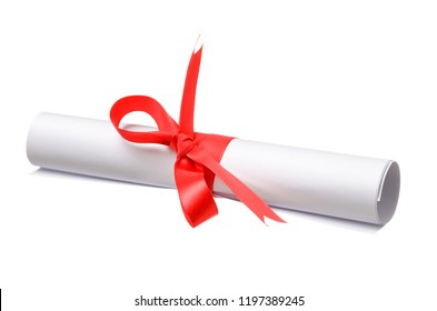 Diploma, close up of paper scroll with red ribbon isolated on white background