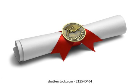Diploma with Graduate Medal and Red Ribbon Isolated on White Background.