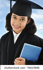 Diploma graduating little arabic student kid
