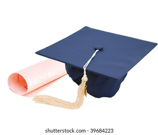 Diploma and hat in graduation