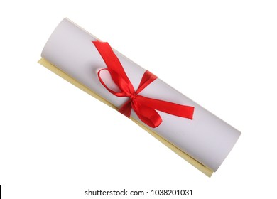 Diploma with red ribbon isolated on white background. Top view. Flat lay