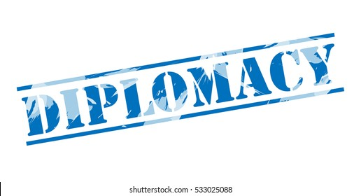 diplomacy blue stamp on white background