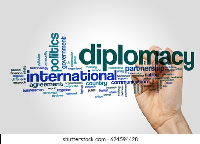 Diplomacy word cloud concept on grey background.