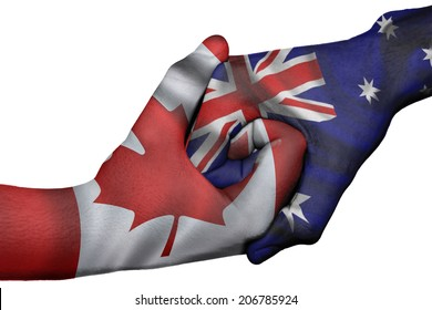 Diplomatic handshake between countries: flags of Canada and Australia overprinted the two hands