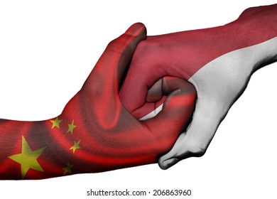 Diplomatic handshake between countries: flags of China and Indonesia overprinted the two hands
