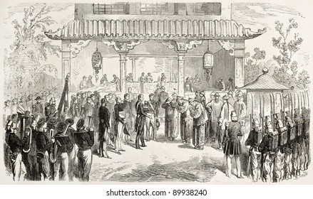 Diplomatic meeting between French and Chinese delegations (second opium war). Created by Worms, published on L'Illustration, Journal Universel, Paris, 1858