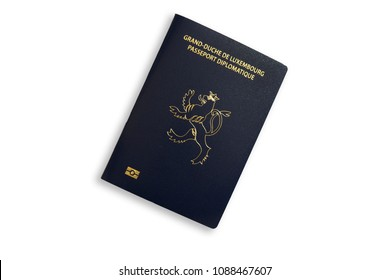 Diplomatic passport of the Grand Duchy of Luxembourg on a white background