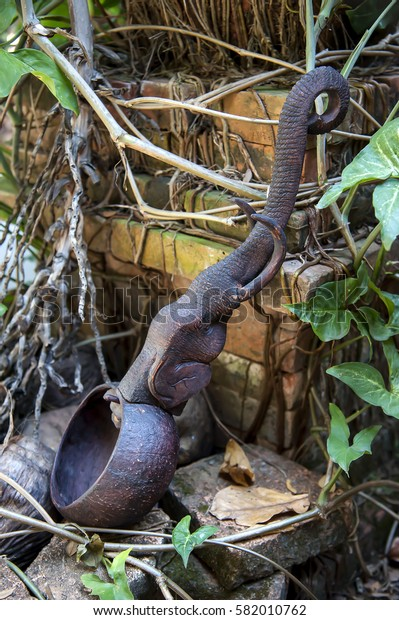 dipper elephant wood carving northern thailand