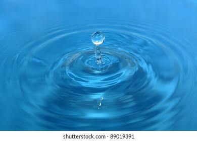 Dipping water.Water droplets on the surface.