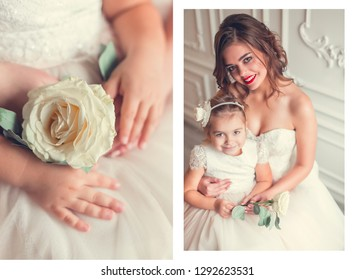 Diptych of two portraits of daughter and mother in wedding dresses in wedding day. Happiness, childhood, wedding concept