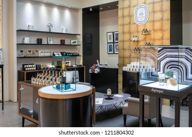 Diptyque shop at Emquatier, Bangkok, Thailand, Oct 15, 2018 : French fragrance products display in luxury modern style at shopping mall.