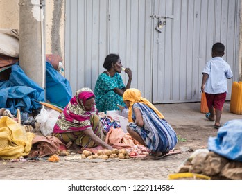 DIRE DAWA, ETHIOPIA-OCTOBER 26, 2018: Unidentified women sell vegetables on the streets of Dire Dawa, Ethiopia.