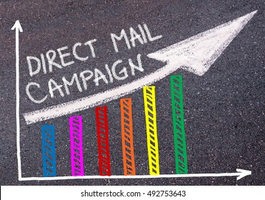 DIRECT MAIL CAMPAIGN written with chalk on tarmac over colorful graph and rising arrow, business marketing and creativity concept