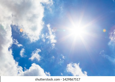 direct shot of sun with sun light  and lens flare , sky background concept, blue sky and sun