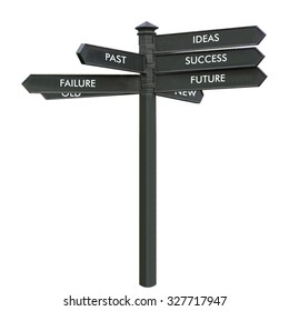 Direction arrow sign, back arrows meaning past failure old, forward arrows meaning ideas success future new isolated over white background