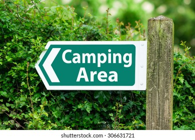 Direction Arrow, Sign To Camping Area in Green Color.
