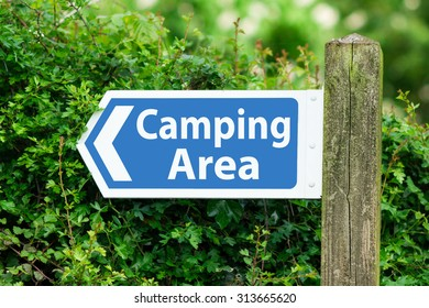 Direction Arrow, Sign To Camping Area in Blue Color.