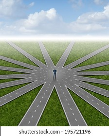 Direction choices and career decisions with a businessman standing in the center of a group of roads going in different paths as a business metaphor for government bureaucracy guidance for success.