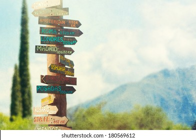 Direction to different places of the world