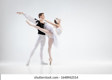 Direction. Graceful classic ballet dancers dancing isolated on white studio background. Couple in white clothes like a white swan characters. The grace, artist, movement, action and motion concept.