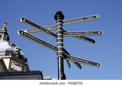 Direction guide post to famous landmarks and tourist sites in london