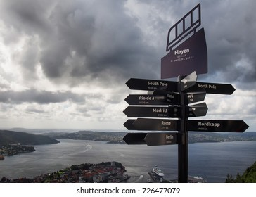 Direction indicator on Floyen mountain, Bergen, Norway