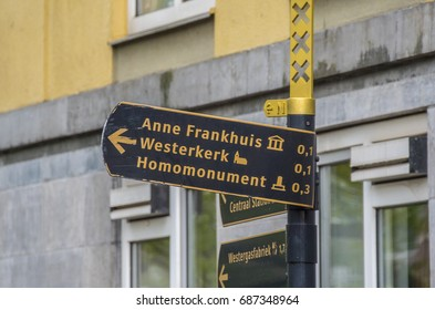 Direction sign to the Anne Frank House in Amsterdam - AMSTERDAM / THE NETHERLANDS - JULY 20, 2017