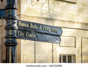 Direction sign boards for tourists in Bath city, England