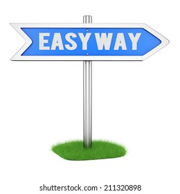 Direction sign. Easy way concept. 3d rendering image