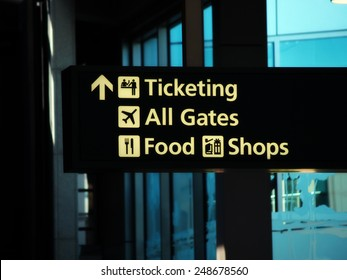 Direction Sign Inside Airport Ticketing Gates Food Shops