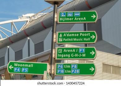 Direction Sign At The Johan Cruijff Arena Amsterdam The Netherlands 2019